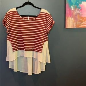 Free People Red/Cream Striped Crepe-Back Top, MED